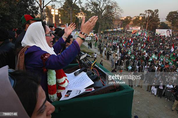 Former Prime Minister Benazir Bhutto speaks at a campaign rally before being assassinated in a bomb attack December 27, 2007 in Rawalpindi, Pakistan....