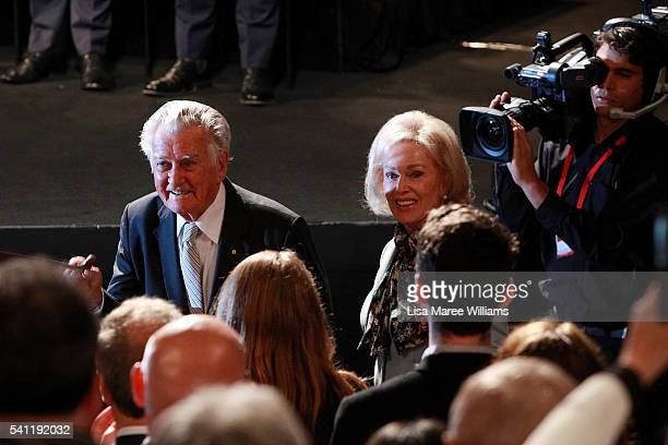 Former prime minister Bob Hawke and wife Blanche D' Alpuget arrive at the Australian Labor Party 2016 Federal Campaign Launch at the Joan Sutherland...