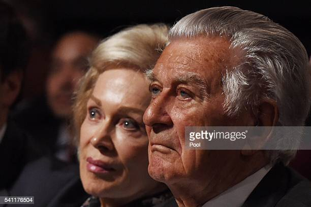 Former prime minister Bob Hawke and wife Blanche D' Alpuget wait for Leader of the Opposition Bill Shorten at the Labor campaign launch at the Joan...