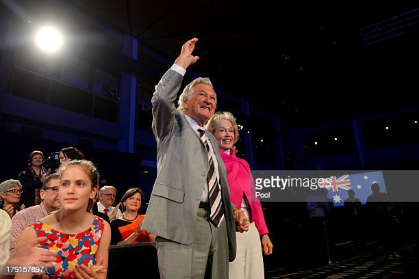 Former Prime Minister Bob Hawke is welcomed during the Labor party campaign launch at the Brisbane Convention and Exhibition Centre on September 1...