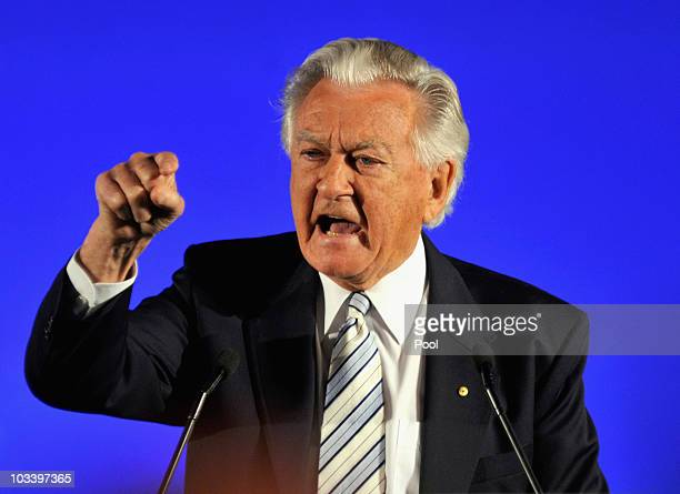 Former Prime Minister Bob Hawke speaks during the Labor Party campaign launch on August 16 2010 in Brisbane Australia Australian voters head to the...