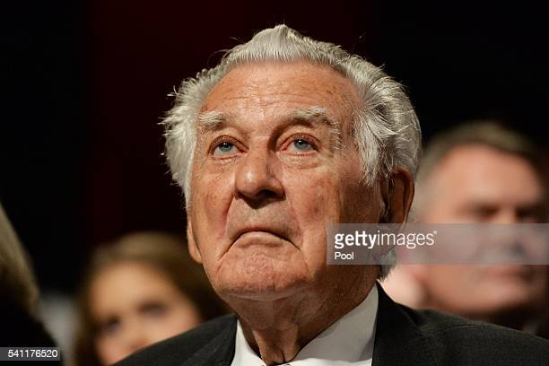 Former prime minister Bob Hawke waits for Leader of the Opposition Bill Shorten at the Labor campaign launch at the Joan Sutherland Performing Arts...