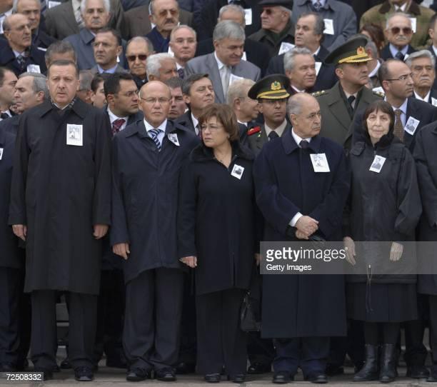 Former Prime Minister Bulent Ecevit's wife Rahsan Ecevit President Ahmet Necdet Sezer Oya Talat Turkish Cypriots leader Mehmet Ali Talat and Prime...