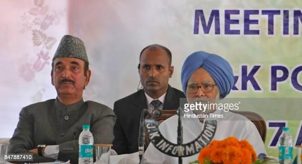 Former Prime Minister Dr Manmohan Singh along with Rajya Sabha Member Ghulam Nabi Azad during an executive committee meeting at Hari Nivas on...