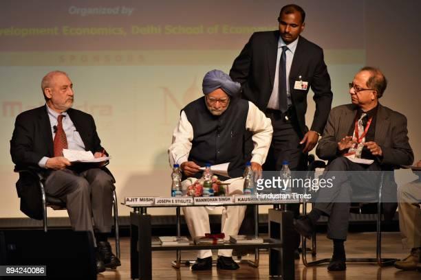 Former Prime Minister Dr Manmohan Singh with former chief economic adviser Kaushik Basu during the 65th birthday celebration of Kaushik Basu at Delhi...
