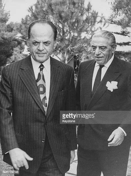 Former Prime Minister Georgios Papadopoulos with Greek businessman Aristotle Onassis, circa 1975. Printed following the death if Onassis on March...