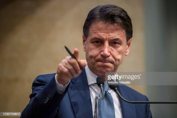 Former Prime Minister Giuseppe Conte delivers his speech during a press conference to discuss his role in the FIve-Star Movement , on June 28, 2021...