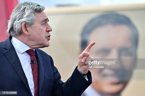 Former Prime Minister Gordon Brown addresses activists as he attends a drive-in rally for Labour supporters with Scottish Labour leader Anas Sarwar...