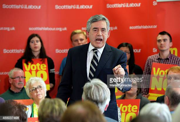 Former Prime Minister Gordon Brown delivers a speech to a packed room at Scottish Labour campaign headquarters on September 9 2014 in Glasgow...