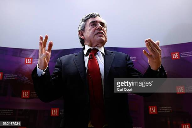 Former Prime Minister Gordon Brown gestures as he gives his first major public speech of the European referendum campaign at the London School of...