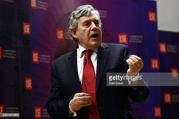 Former Prime Minister, Gordon Brown, gestures as he gives his first major public speech of the European referendum campaign at the London School of...
