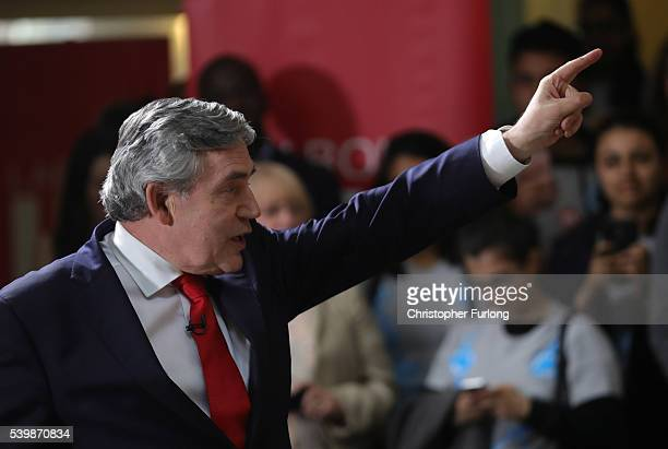 Former Prime Minister Gordon Brown makes a keynote speech as he launches the ''Leading not Leaving'' initiative to remain in the EU at Queens Hall De...