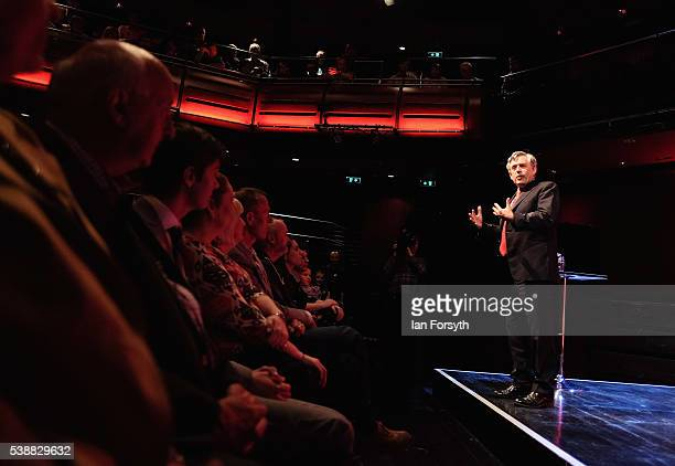 Former Prime Minister Gordon Brown speaks at a Labour In for Britain rally in the Sage building on June 8 2016 in Gateshead England Mr Brown spoke...