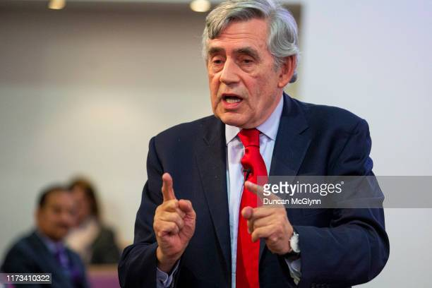 "Former Prime Minister Gordon Brown speaks at a ""No to No-Deal"" rally at Gorbals Parish Church on September 9, 2019 in Glasgow, Scotland."