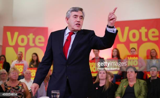 Former Prime Minister Gordon Brown speaks at Dumbarton Town hall to No campaigners on September 16 2014 in Glasgow Scotland Yes and No supporters are...
