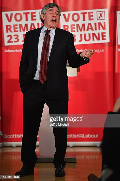 Former Prime Minister Gordon Brown speaks at Glasgows Emirates Arena on June 21 2016 in GlasgowScotland Speaking just thirty six hours before EU...