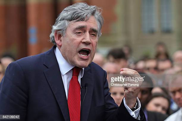 Former Prime Minister Gordon Brown speaks before David Cameron addresses students and proEU 'Vote Remain' supporters during his final campaign speech...
