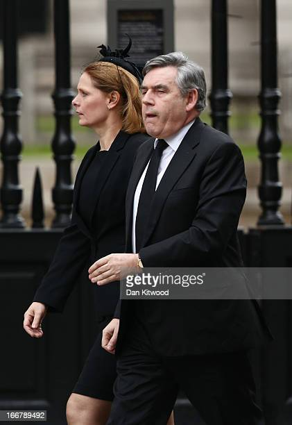 Former Prime Minister Gordon Brown with his wife Sarah Brown attend the Ceremonial funeral of former British Prime Minister Baroness Thatcher at St...