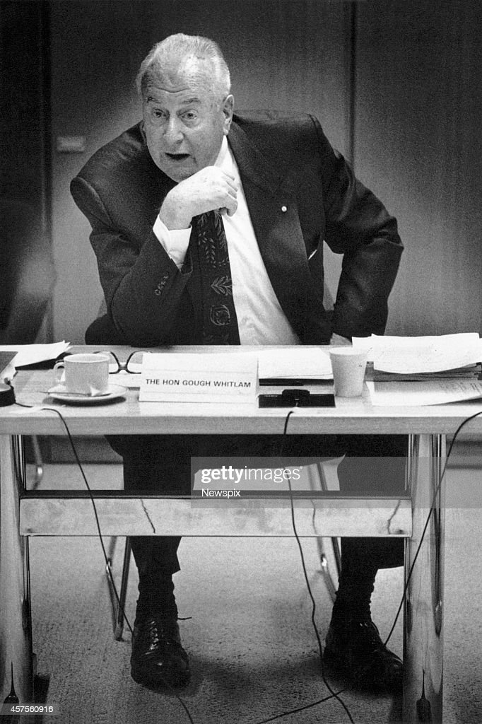 Former Prime Minister Gough Whitlam addresses the parliamentary committee on the virtues of the four-year term in Canberra, Australian Capital Territory.