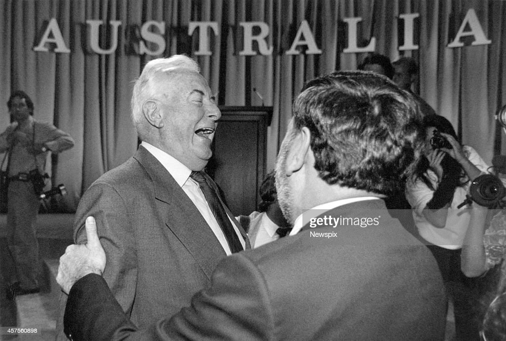 Former Prime Minister Gough Whitlam and Barry Jones share a joke during the Australian Labor Party (ALP) campaign launch at Bankstown Town Hall in Sydney, New South Wales.