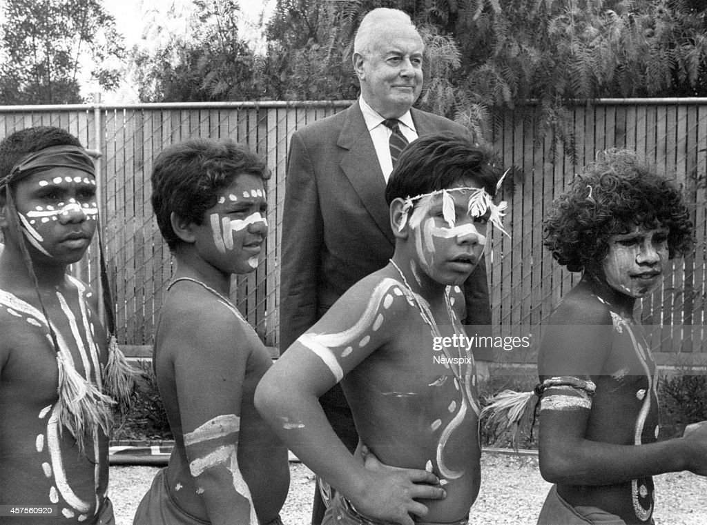Former Prime Minister Gough Whitlam at the opening of an Aboriginal health centre in Melbourne, Victoria.