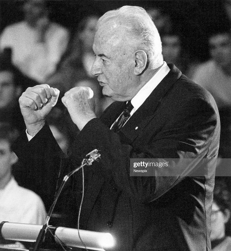 Former Prime Minister Gough Whitlam during the Great Republican Debate at Old Parliament House in Canberra, Australian Capital Territory.