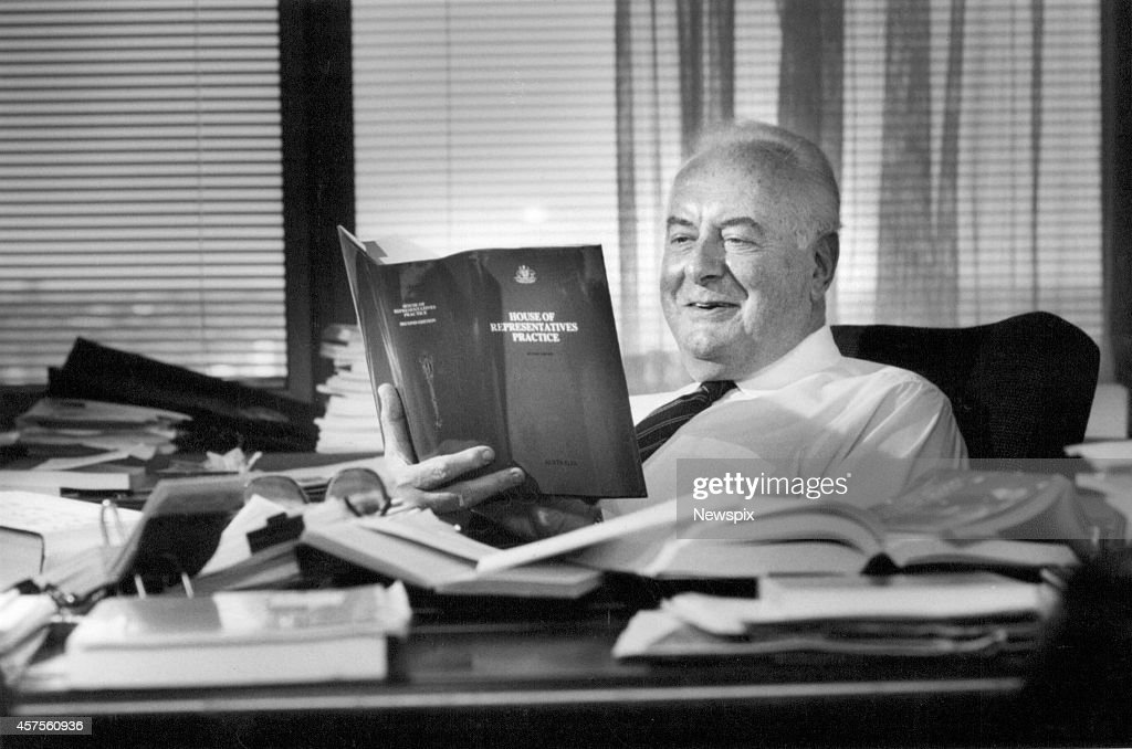 Former Prime Minister Gough Whitlam reads his parliamentary bible at his office in Sydney, New South Wales.