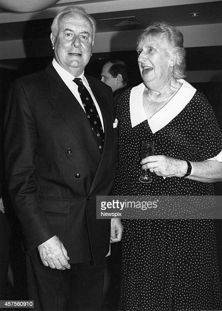 Former Prime Minister Gough Whitlam with his wife Margaret Whitlam during a social event at Circular Quay in Sydney New South Wales