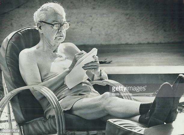 Former prime minister John Diefenbaker relaxes on patio at his Barbados cottage while working on final volume of his memoirs Star writer Val Sears...