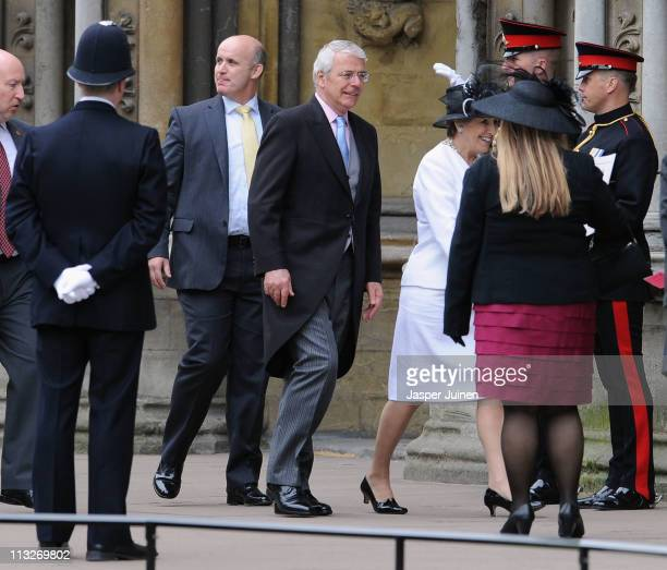Former Prime Minister John Major arrive to attend the Royal Wedding of Prince William to Catherine Middleton at Westminster Abbey on April 29, 2011...