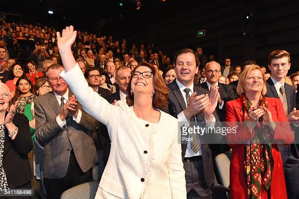 Former prime minister Julia Gillard arrive to listen to Leader of the Opposition Bill Shorten at the Labor campaign launch at the Joan Sutherland...
