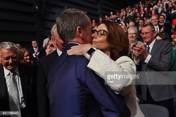 Former prime minister Julia Gillard greets Leader of the Opposition Bill Shorten at the Labor campaign launch at the Joan Sutherland Performing Arts...