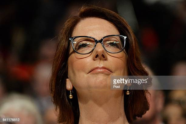 Former prime minister Julia Gillard waits for Leader of the Opposition Bill Shorten at the Labor campaign launch at the Joan Sutherland Performing...