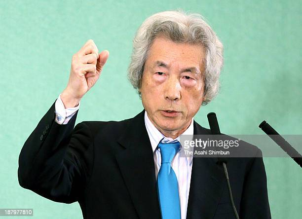 Former Prime Minister Junichiro Koizumi speaks during a press conference at the Japan National Press Club on November 12, 2013 in Tokyo, Japan....