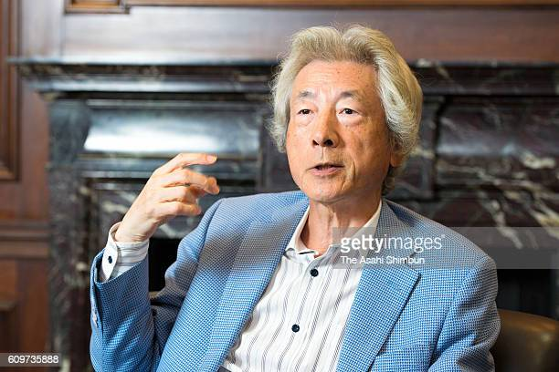 Former Prime Minister Junichiro Koizumi speaks during the Asahi Shimbun interview on September 14 2016 in Japan