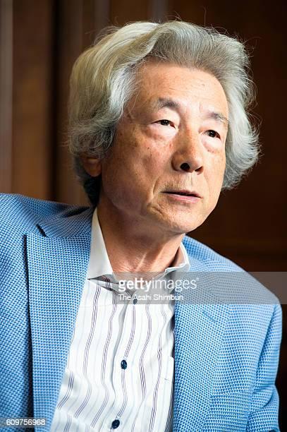Former Prime Minister Junichiro Koizumi speaks during the Asahi Shimbun interview on September 14 2016 in Japan