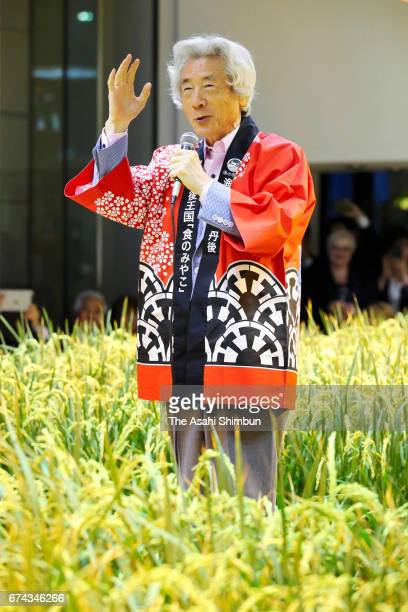Former Prime Minister Junichiro Koizumi talks to participants prior to harvesting from a rice paddy at Pasona Holdings headquarters on April 27 2017...