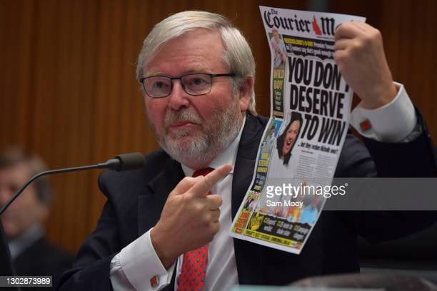 Former Prime Minister Kevin Rudd during the public hearing into Media diversity in Australia at the Environment and Communications References...