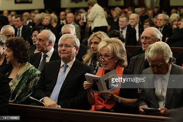 Former Prime Minister Kevin Rudd his wife Therese Rein former Prime Minister Bob Hawke and his wife Blanche d'Alpuget attend the memorial service for...