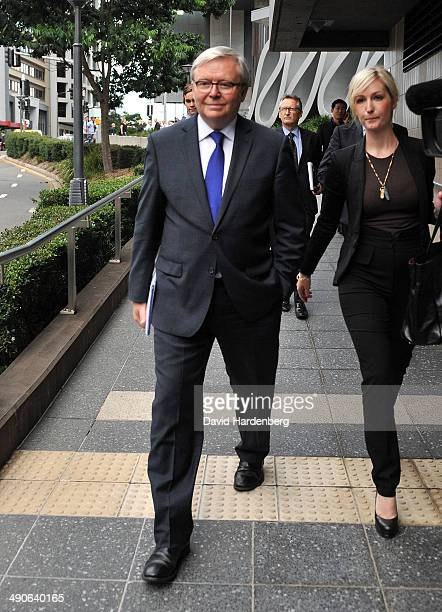 Former Prime Minister Kevin Rudd leaves Brisbane Magistrates Court for lunch, on May 15, 2014 in Brisbane, Australia. Former Prime Minister Kevin...