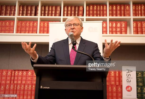 Former Prime Minister Kevin Rudd speaks at the launch of 'Red Flag, Waking Up To China's Challenges' Quarterly Essay by Peter Hartcher at Parliament...