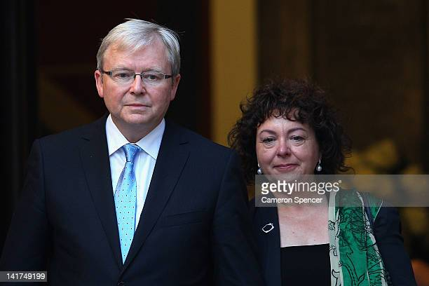 Former Prime Minister Kevin Rudd with his wife Therese Rein leave the memorial service for Margaret Whitlam at St James Anglican Church on March 23...