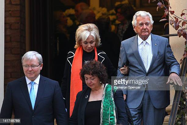 Former Prime Minister Kevin Rudd with wife Therese Rein and former Prime Minister Bob Hawke with wife Blanche d'Alpuget leave the memorial service...