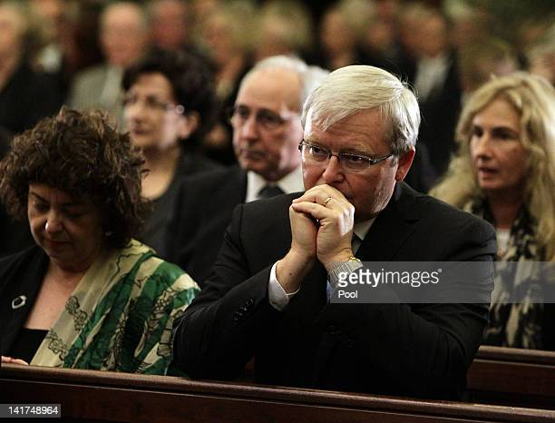 Former Prime Minister Kevin Rudd with wife Therese Rein attend the memorial service for his wife Margaret Whitlam at St James Anglican Church on...