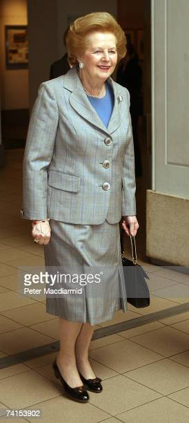Former Prime Minister Lady Thatcher arrives at the Imperial War Museum on May 15 2007 in London The Falklands Exhibition opens May 16 2007 and runs...