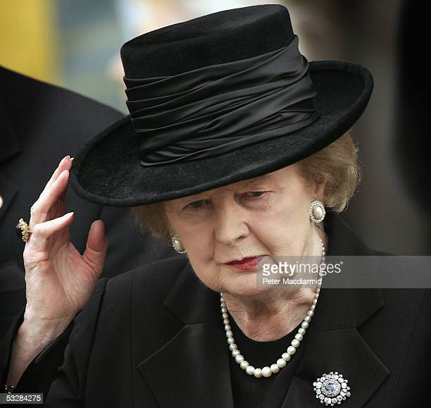 Former Prime Minister Lady Thatcher is seen leaving Salisbury Cathedral after attending the funeral of Sir Edward Heath on July 25 2005 in Salisbury...