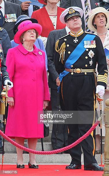 Former Prime Minister Lady Thatcher stands with Prince Andrew during a Falklands War flypast on June 17 2007 in London Commemorations to mark the...