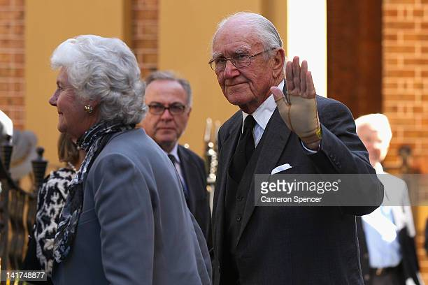 Former Prime Minister Malcolm Fraser with his wife Tammy arrive at the memorial service for Margaret Whitlam at St James Anglican Church on March 23...