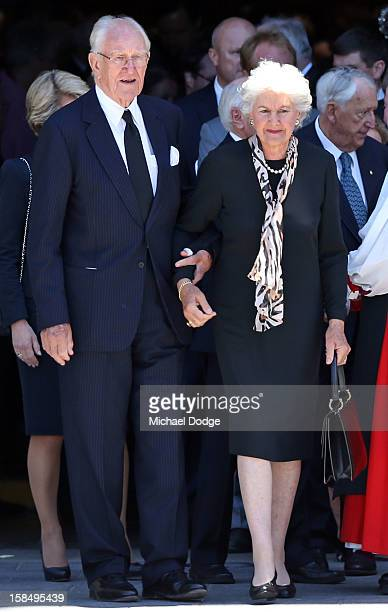 Former Prime Minister Malcom Fraser with his wife Tamara Fraser leave after attending the Dame Elisabeth Murdoch public memorial at St Paul's...