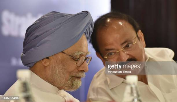 Former Prime Minister Manmohan Singh along with former finance minister Palaniappan Chidambaram during the release of Abhishek Manu Singhvis book...